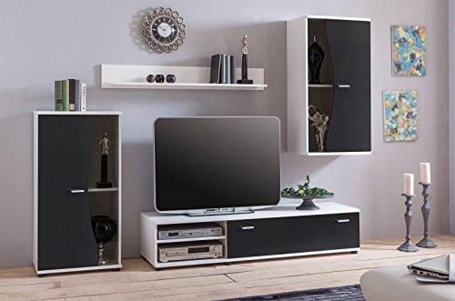 Wohnwand 'Pur' Schwarz Weiß Wohnzimmerschrank Tv Wand