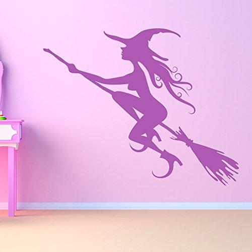 Fliegen-Hexe-Halloween-Wandaufkleber Wandtattoo Kunst verfügbar in 5 Größen und 25 Farben Groß Basaltgrau