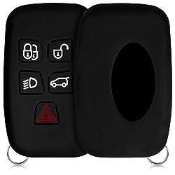 kwmobile Autoschlüssel Hülle für Land Rover Jaguar - Silikon Schutzhülle Schlüsselhülle Cover für Land Rover Jaguar 5-Tasten Funk Autoschlüssel Schwarz