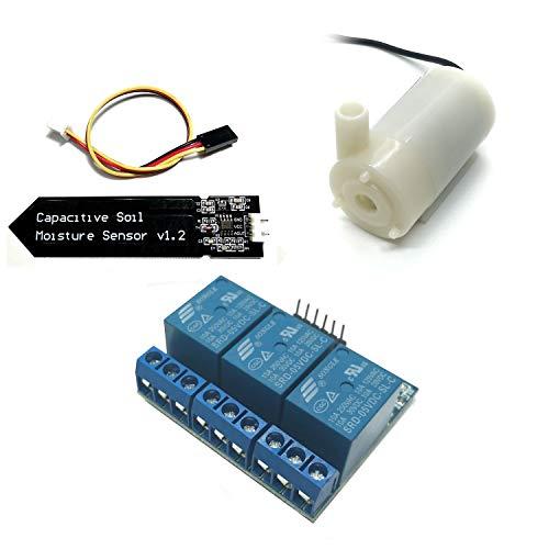 Homengineer Bewässerungs-Set bestehend aus Tauch-Pumpe, Feuchtigkeitssensor und 3 Kanal Relay f. Arduino Raspberry Pi etc. ohne Korrosion -
