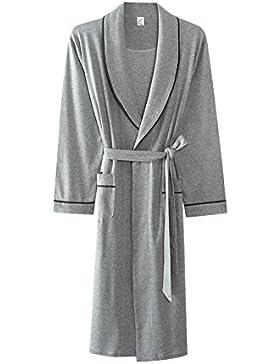 PFSYR Pijamas para hombres/Vestido de noche Albornoces finos de manga larga de algodón/Primavera y otoño, ropa...