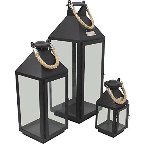 3er Set Laternen mit Henkel H24/41/55cm aus Metall / Glas Laternen Windlichter für Kerzen oder Dekoration (Groß Outdoor-kerze-laterne)