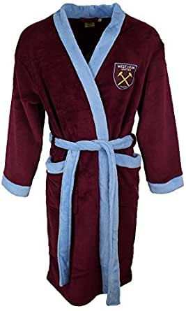 Official WHUFC boys hooded dressing gown Woven club crest & contrast trim Half elasticated back with contrast tie belt; pockets to front Height: 3/4yrs cm; 5/6yrs cm; 7/8yrs cm; 9/10yrs cm; 11/12yrs cm Many more gift ideas @ FootballShopOnline.
