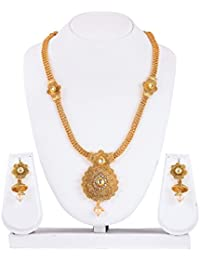 Mukh Gold Plated Necklace Set With Earrings And Austrian Diamonds For Women