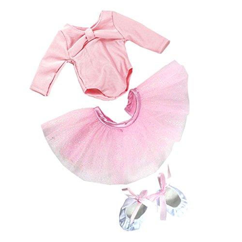 Sharplace Pink Puppen Ballett Tanz Kleidung Satz - Rock & Top & Schuhe - Outfit für 18 Zoll Mädchen Puppe - Tanz Kostüm Puppe