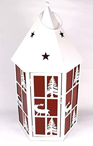 Terrex Laterne Windlicht Weihnachtsdeko Metall Weiß Rot H: 47 cm