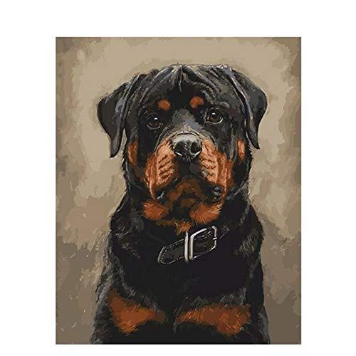 GCQBLM Labrador Polizei Hund Tier DIY Digitale Malerei Nach Zahlen Moderne Wandkunst leinwand Malerei Geschenk Für Kinder Wohnkultur Rahmenlose 16x20 Zoll