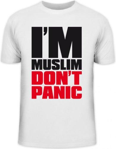 Shirtstreet24, I'M MUSLIM RED, Religion Moslem Islam Herren T-Shirt Fun Shirt Funshirt, Größe: L,weiß