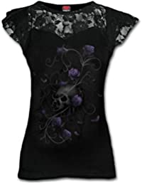 Spiral Women - Entwined Skull - Lace Layered Cap Sleeve Top Black