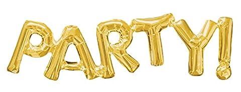 erdbeerloft - Partydekoration Schriftzug Party Ballon 115 cm ungefüllt, Gold