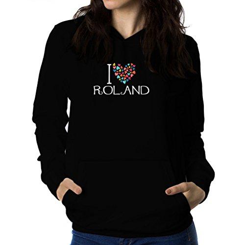 I love Roland colorful hearts Sweat à capuche Femme