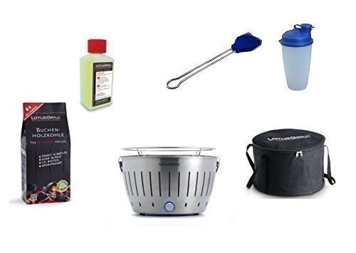 LotusGrill Barbecue Kit de démarrage 1x Lotus Barbecue Acier 1x Hêtre Charbon de bois 1kg, 1x Pâte à combustible 200ml, 1x Pinceau Bleu Outremer, 1x Shaker à vinaigrette, 1x sac de transport