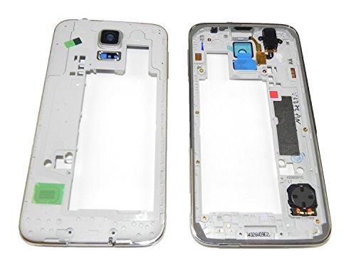 Samsung Galaxy S5 G900F Premium Mittel Rahmen Mittelrahmen Silber Lautsprecher Kamera Glas Audio Jack Backcover Laut Leise Volume - ToKa-Versand®