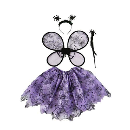 Amosfun Mädchen Halloween Kostüme Tutu Rock mit Flügeln Spider Wand Stirnband Dress-up Outfit Party Favor Versorgung für Halloween Weihnachten Geburtstag Cosplay