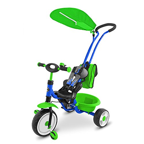 Preisvergleich Produktbild Dreirad Boby Deluxe, Kinderdreirad mit abnehmbarer Schubstange in 5 verschiedenen Farben, Farbe:Blue/Green
