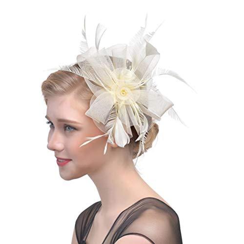 Xmiral Damen Haarband Blume Mesh Ribbons Federn Stirnband Abend Cocktail Tea Party Hut Kopfbedeckungen ()