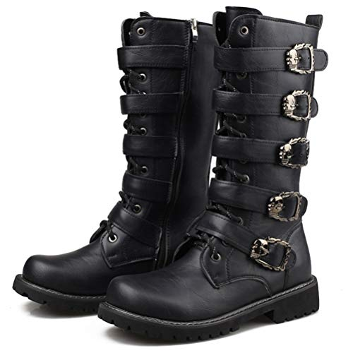 Tangbb Herren Armee Stiefel Gothic Skull Punk Motorradstiefel Wasserdicht rutschfeste Cowboystiefel Hohe Röhre Warme Stiefel - Große Größe,45