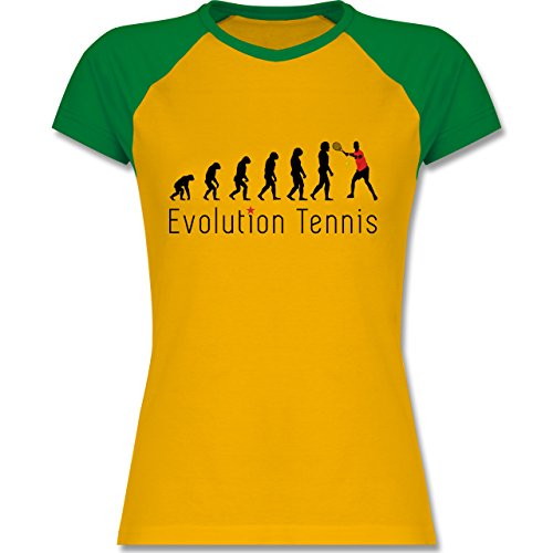 Evolution - Tennis Evolution - zweifarbiges Baseballshirt / Raglan T-Shirt für Damen Gelb/Grün