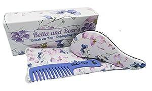 Bella and Bear Detangling Hair Brush and Comb - Set the Best Detangler Brush for Wet or Dry Hair, glide thru bristles so no more tangles no more tears. (Spring)