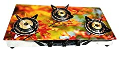 Surya Samridhi 3 Burner Floral Design Glass Finish Gas Stove