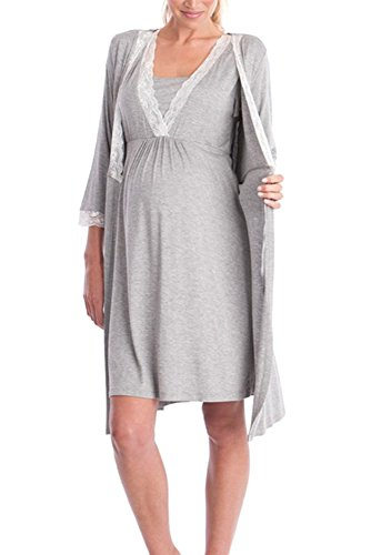 KINDOYO Womens Nightwear Sexy Elegant Lace Stitching Maternity Robe Pajamas,Light Grey/M