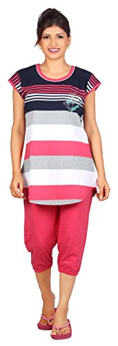 Carrel Cotton Hosiery Fabric Women Striped Print Top & Capri Set(AGSPL-3458)
