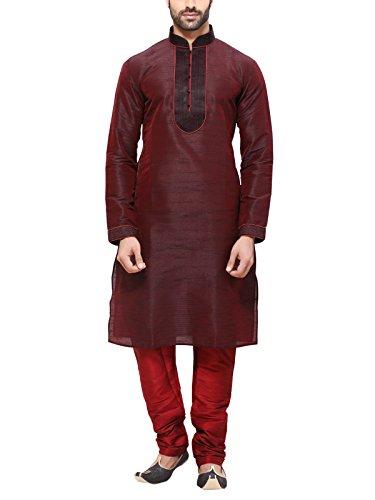RG Designers Men's Cotton Kurta Pajama Set (10369RedKurta Pajama Set42_Red_X-Large)