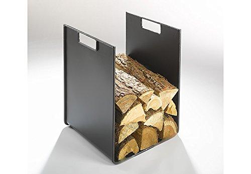 Kaminholzständer Feuerholzregal Kaminholzablage Holzregal Metallregal Kaminholzhalter Kaminholzregal aus Metall 45 cm hoch schwarz lackiert