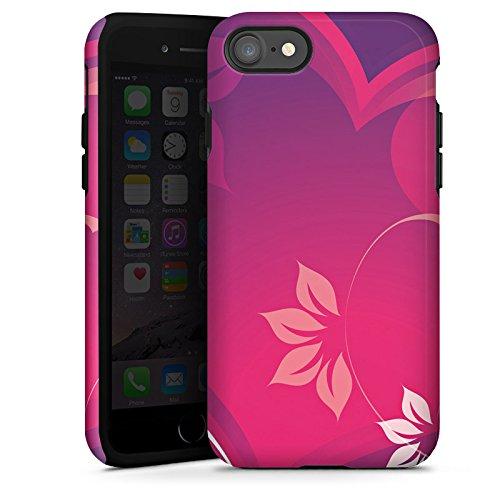 Apple iPhone X Silikon Hülle Case Schutzhülle Liebe Herz Blumen Tough Case glänzend