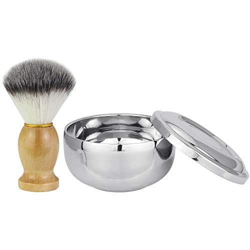 LYTIVAGEN Rasierset Edelstahl Rasierschale Weiche Rasierpinsel, Rasierseifenschalen mit Deckel Rasierbürste Set für Männer