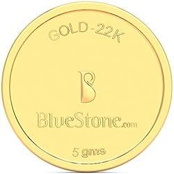 BlueStone BIS Hallmarked 5 grams 22k (916) Yellow Gold Precious Coin