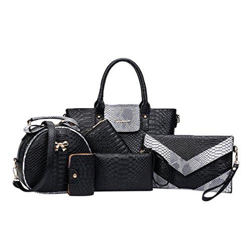 Kairuun Damen Kunstleder Handtasche Tasche mit Alligator Muster 6 teiliges Set mit Crossbody Tasche und Handtasche Kartentasche