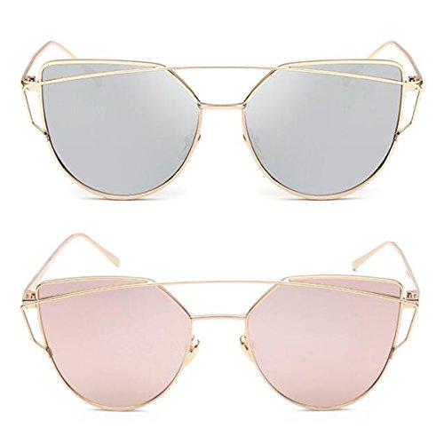 L&K-II Classische Sonnenbrille Damen Metall Rahmen verspiegelte Linse Brille 5101 set 11