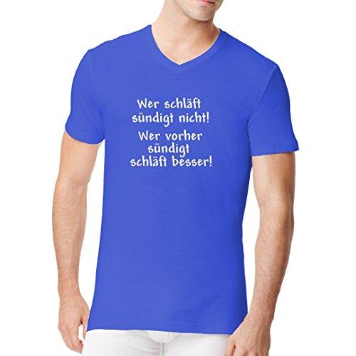Fun Sprüche Männer V-Neck Shirt - Wer schläft, sündigt nicht by Im-Shirt Royal