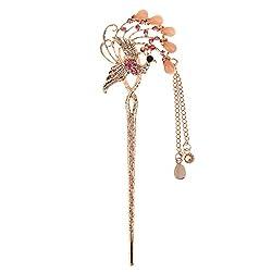 Phenovo Vintage Bobby Pin Flower Hairpin Colorful Rhinestone Hair Stick #09
