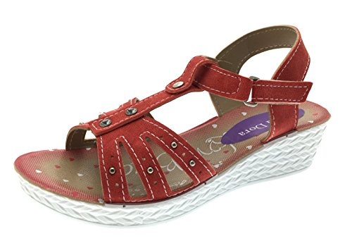 Lora Dora enfants filles Sandales d'été Strappy faible Wedge Parti Chaussures Fleur T Bar Taille UK 7–2,5 Coral Gladiator