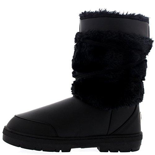 Femmes Pom Pom Courte Hiver Fourrure Doublée Chaleureux Chaussure Botte Noir Cuir