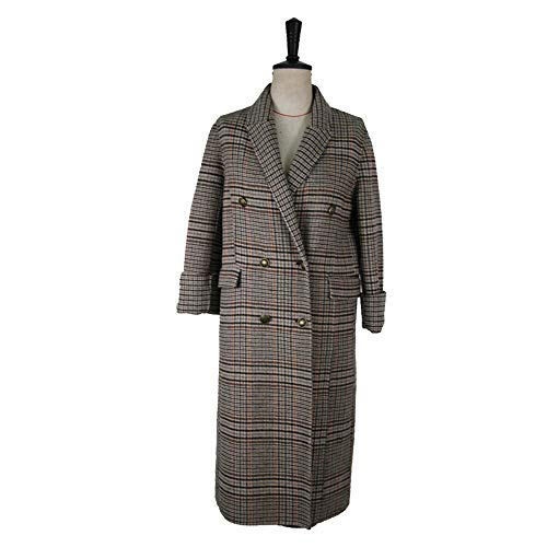 GAOQQ Mantel Für Frauen Winter, Vintage Plaid Double Breasted Hochwertige Doppel Woolen Jacke,A-M Plaid Vintage Mantel