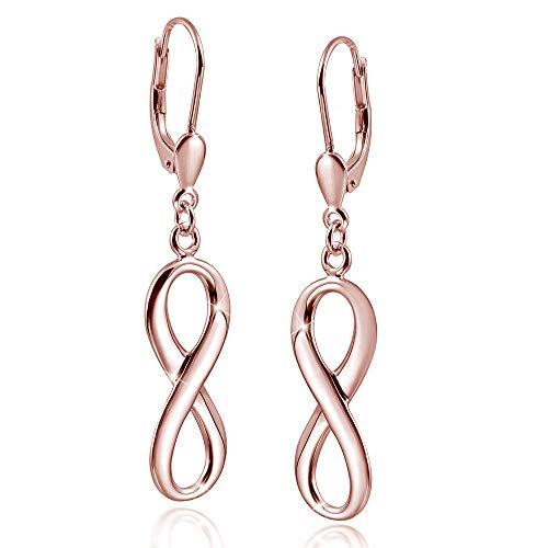 MATERIA Damen Ohrringe rose gold hängend - Unendlichkeit Ohrhänger Silber 925 vergoldet mit Etui SO-249-Rose