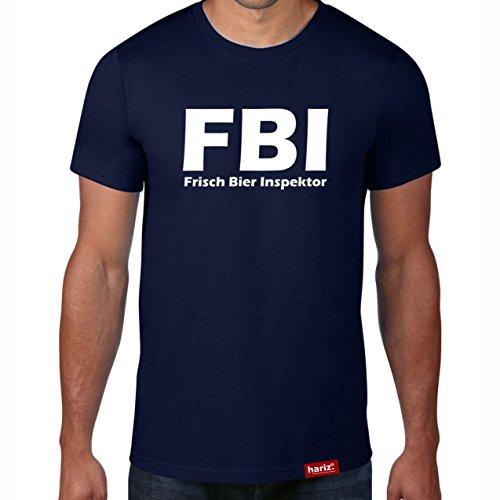 FBI - Frisch Bier Inspektor // Original Hariz® T-Shirt - 16 Farben, XS-4XXL // Sprüche | Lustig | Männer | Geschenk | Funshirt #Bier Collection Navy L