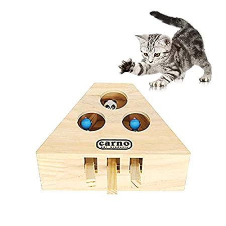 Souarts Katzenspielzeug Set Interaktiv Katze Intelligenzspielzeug für Katzen aus Holz Cat Activity Box die Maus Duales…