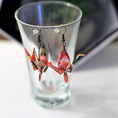Boucles d'oreilles Origami Grue rouge fleurie - Idée cadeau pour un anniversaire, une fête
