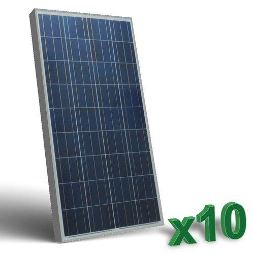 Conjunto de 10 Placa Solar Fotovoltaico130W Total 1300W Policristalino Placa Solar Fotovoltaico 130W en silicio policristalino, ideal para abastecer a campistas, barcos, cabañas, casas de campo, sistemas de videovigilancia, puentes de radio, etc.  ...