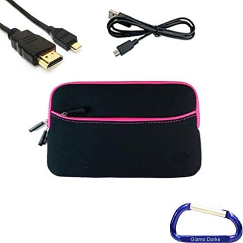 Gizmo Dorks Soft Neoprene Zipper Case (Black with Hot Pink Trim), Micro USB Cable, and HDMI Cable with Carabiner Key Chain for the Acer Iconia Tab A100