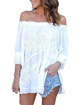 Blusas Mujer, Magiyard Manga larga de hombro de encaje de gasa blusa camiseta casual top