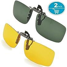 Gafas de sol con clip, unisex, polarizadas, sin montura, lentes rectangulares, con clip de apertura hacia arriba se pueden enganchar en las gafas graduadas, gafas de sol con clip de 2 piezas