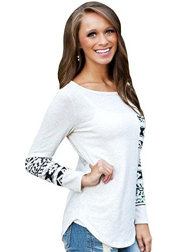 ZEARO Damen lange Ärmel Rundhals Bluse Geometrische Grafiken T-Shirt Weiß