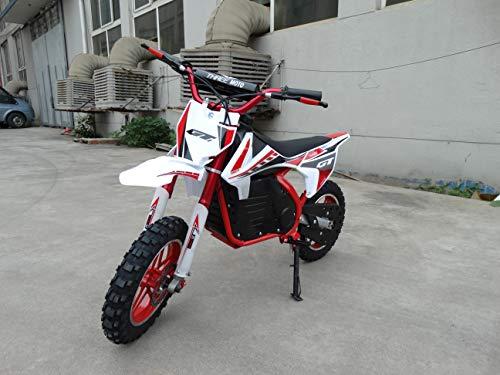 Mini moto eléctrica para niños con bateria de 24V 12AH, motor de 350W. Mini pitbike de cross eléctrica para niños. (ROJA)