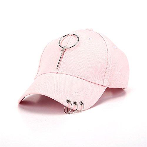 Meaningg NUEVOS nuevos Hombres Mujeres Negro Rosa Gorras de béisbol Sombreros con Aros de Hierro Metal Gorras Rock Hip Hop Cap Hat