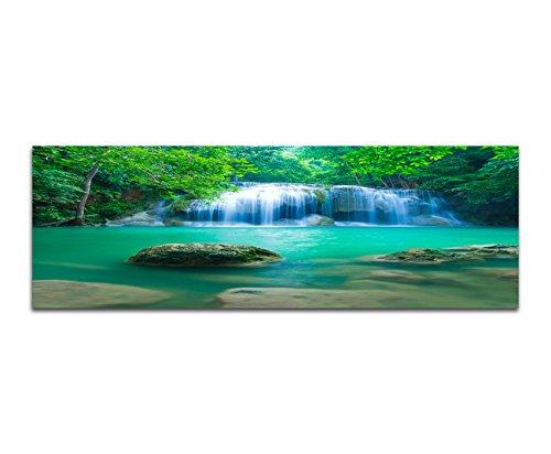 Panoramabild auf Leinwand und Keilrahmen 150x50cm Thailand Nationalpark Wasserfall Wald Natur